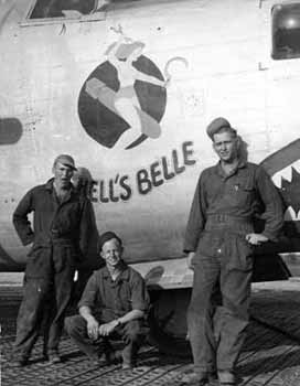 Part of the 756th Ground Crew  -  Farest T. Blount  kneeling B-24 44-40926 Hell's Belle