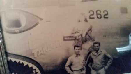 <b>Sgt. William Medzius on right</b><br> B-24 44-49732 Beautiful Takeoff