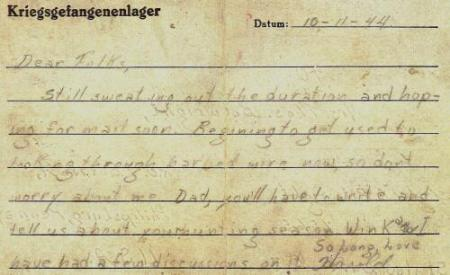 Letter home from Harold at Luft Stalag #3 on 11 Oct. 44