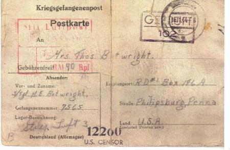 Letter home from Harold at Luft Stalag #3 on 5 Oct. 44