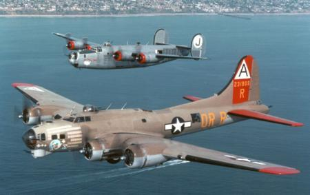 Collings B-17 and B-24 over coast