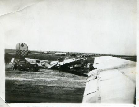 A B-24 crash on the 459th Giulia Field runway of 756th BS A/C # 42-51582, 4/21/45