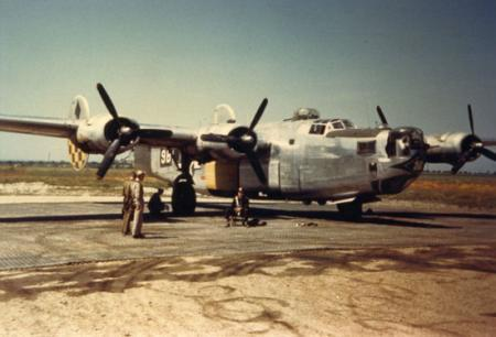 759 BS B-24 on hardstand prior to take off 1944
