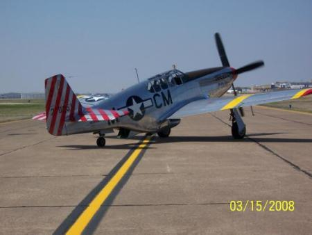Collings' P-51 comes in for fuel