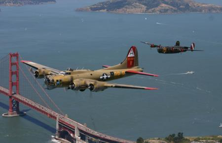 B-17 and B-24 in flight