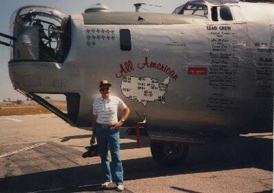 2nd Lt. Cyril Rombach, 757th, in front of B-24 at March AFB, Riverside, CA, April 1992