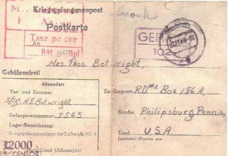Letter home from Harold at Luft Stalag #3 on 6 Sep. 44