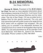 B-24 Memmorial WW II Annoucement- The Consolidated B-24 Liberator is to Honored in San Diego,CA2003