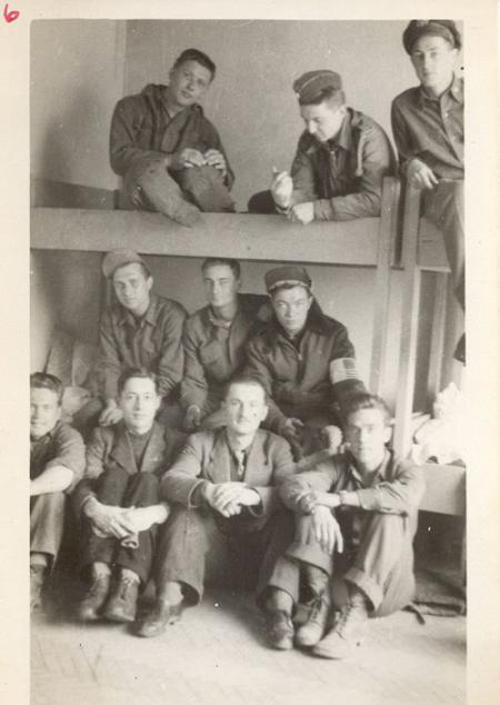Bridge Crew in Barracks Mission 216 3-22-45 to KralupaCZ O/R after they landed at a Polish A-D under Russian Contol with Local Poles