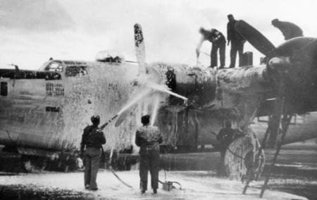 759 BS Cleaning B-24 prior to mission 1944