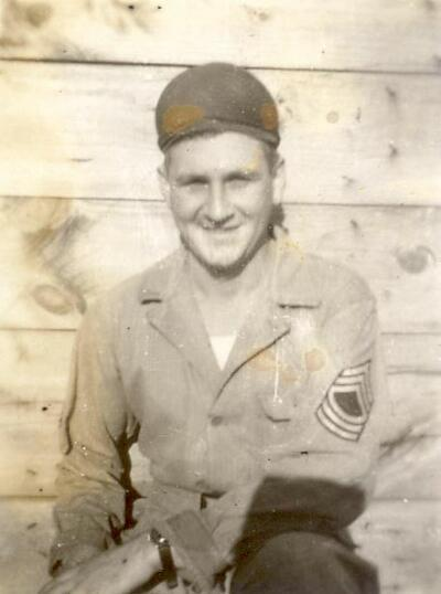 M/Sgt Charles Kaeppel 757th Bomb Squadron Line Chief in a relaxed mood, 1944.