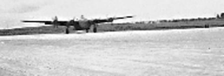 Giulia Field-758 BS B-24 Landing after Combat Mission Notice Very Large Gravel making up Runway,very hard on B-24 tires-1944