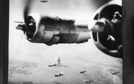 759 BS Close up of B-24 Right side Engines in Flight with other Squadron B-24s in Background
