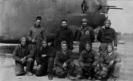 Top Row L to R: Charles Webb Co-Pilot, Harold Kolenberg Navigator-Nose Gunner Murphy- Pilot, Edward McFarland - Bombardier  Bottom Row left to right  Gordon Stephens, Radio Oper Waist Gunner, Louis R.  Guzardo, Tail Gunner Sam Savitsky, Radio Operato