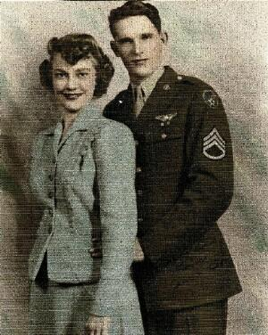 Wedding photo of Jim and Betty, married on October 20, 1943, while stationed at Davis Monthan Army Air Force Base at Tucson, AZ.