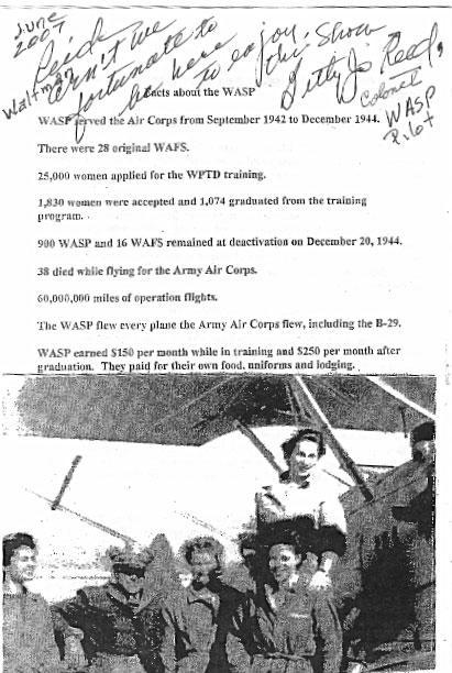 WASP Booklet Page 4 with autograph of Col Betty Reed,Pilot in the WASP 6/ 16/07 Ft Worth,TX