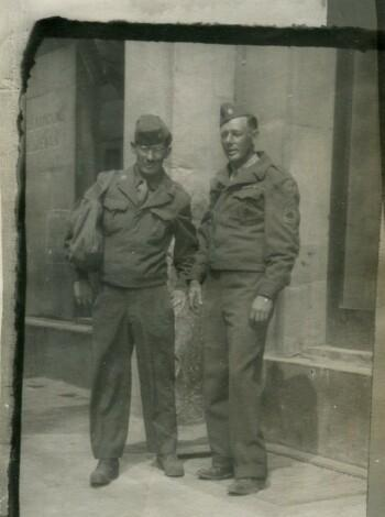 T/Sgt. Rodney Goodlett (L) and T/Sgt. E. J. Jones 758th Squadron  4/21/45
