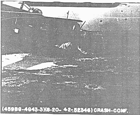 Crash accident Report 105 photo of A-C 42-52346 ( No Name ) 758 B S at end of runway after nose wheel strut collapsed on combat takeoff 8-20-44 - 459th BG, Army Air Corps Library and Museum