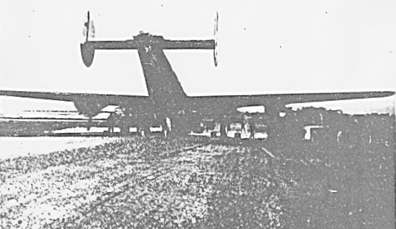1st lt Andrew Walker`s A-C 42-52346 B-24 H at the end of the runway after nose wheel strut collapsed on combat takeoff 8-20-44 - 459th BG, Army Air Corps Library and Museum