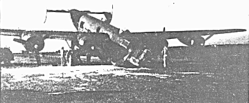 Lt Walker`s B-24 H  42-52346 at end of runway after nose wheel accident 8-20-44 on combat take off run. - 459th BG, Army Air Corps Library and Museum