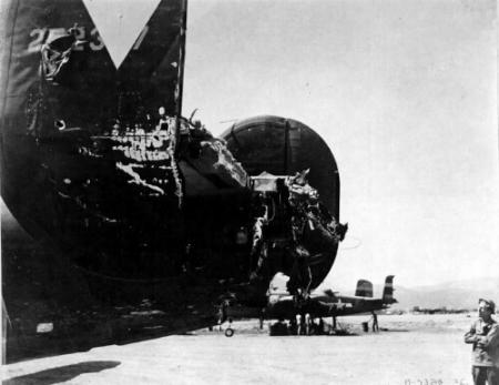 The result of Mid-Air Collision on 459 BG Mission 19 to bomb the Turin A/C Factory, Northern Italy, 4/25/44 - 459th BG, Army Air Corps Library and Museum