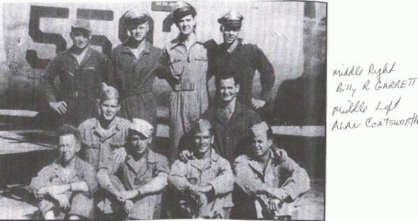 Back Row: ( order unknown )1st Lt. William F. Bertrand, Pilot; 2nd Lt. Norman L. Anderson, Co-Pilot; 2nd Lt. Stanley E Kolbe, Navigator; 2nd Lt. Lt. Shade E. Wallen, Bombardier - 459th BG, Army Air Corps Library and Museum