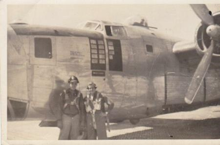 John Badalutz on left in front of his B-24 - 459th BG, Army Air Corps Library and Museum