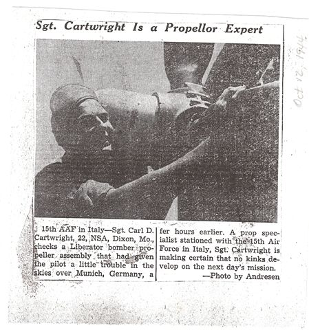 Hometown newspaper clipping - 459th BG, Army Air Corps Library and Museum