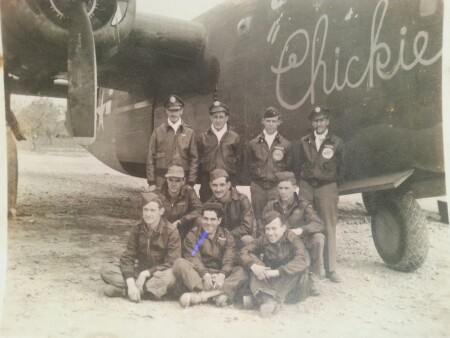 Chickie flight crew - Lt. Salsberg, Bombardier back row far right. - 459th BG, Army Air Corps Library and Museum