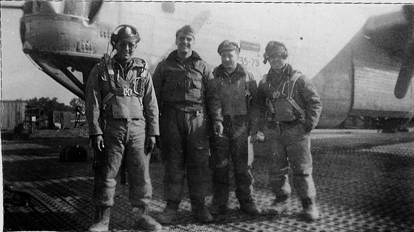 Lt Clarence J Loebel`s crew photo of officers just before taking off  to fly 459 BG`s Mission No. 191, Feburary 17, 1945 with a Primary target of Graz, Austria but due to weather they bombed Austetten, Austria that day. Several other 459 BG planes were forced to bomb alternate targets that day such as Bruck, Austria and the Plume Shipyard, Italy( now part of the old Yugoslavia ). No aircraft were lost that day on this mission. - 459th BG, Army Air Corps Library and Museum