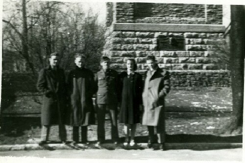 Bob, Roy, Bill who is leaving for the Pacific, sister Gertrude, and Ray  - 459th BG, Army Air Corps Library and Museum