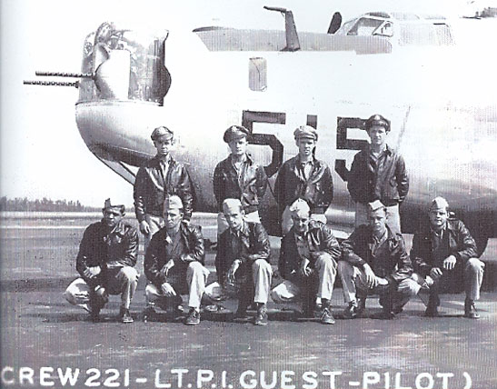 Lt Paul I Guest`s crew Photo shows Standing Left to Right: Lt James S Schofield-Co-Pilot; Lt Paul Guest-Pilot; Lt William Johnson- Bombardier; Lt John Riley- Navigator. Kneeling:Cpl Phil Buonocore; Pfc Tom Dolan; Cpl Jim Holvey; Pfc Gerald Bobian; Cpl John Medema and Bob M Hester  - 459th BG, Army Air Corps Library and Museum