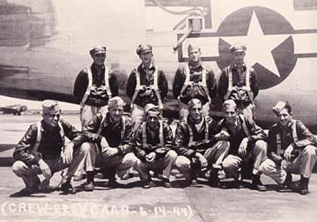 Standing left to right: Harvey Lagasse, Vaughn, Roy Sutton, Jerry CullisionKneeling left to right:  Gordon Liner, Paul Peterson, Anthony Laspina, A. J. Benetta, Harold Botwright, Tom Tomlinson - 459th BG, Army Air Corps Library and Museum