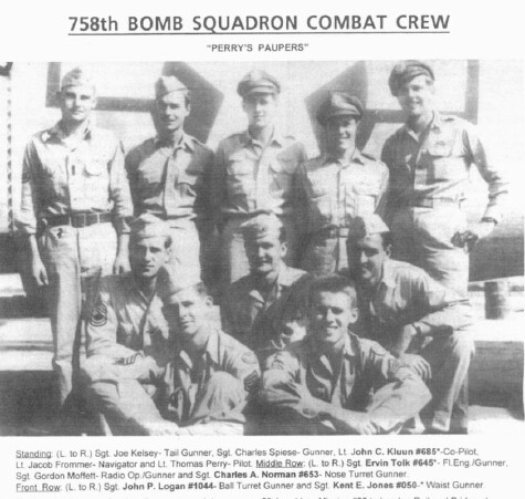 Standing: (L to R) Sgt. Joe Kelsey - Tail Turret; Sgt. Charles Spiese - Gunner; Lt. John C. Kluun - Co-pilot; Lt. Jacob Frommer - Nav.; Lt. Thomas Perry - Pilot.  - 459th BG, Army Air Corps Library and Museum